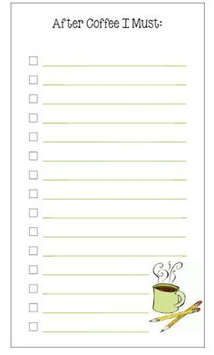 Planner Fun - free inserts, links, hacks & fun: Personal Size To Do List: Coffee! Agenda Planner, Free Planner, Planner Pages, Happy Planner, Printable Planner, Planner Stickers, Free Printables, Best Planners, Day Planners