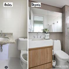Antes e Depois - Banho com Revestimento Hexagonal : Banheiros modernos por Danyela Corrêa Arquitetura
