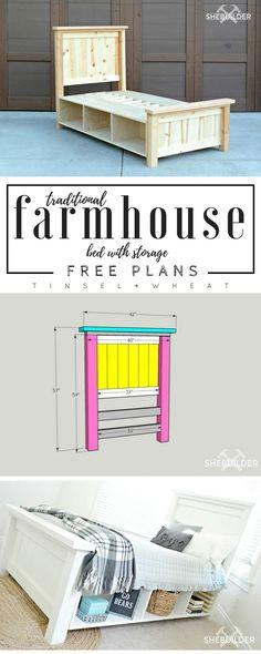 Super Ideas Diy Headboard For Girls Furniture Plans Eco Furniture, Diy Furniture Plans Wood Projects, Farmhouse Furniture, Home Projects, Farmhouse Bed, Furniture Design, Furniture Stores, Bedroom Furniture, Street Furniture