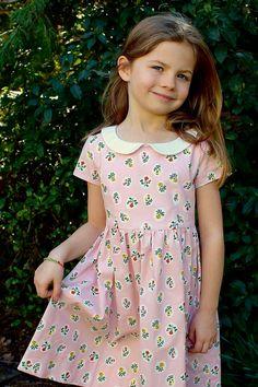 Retro reversible toddler dress PINK CHEVRON dress 2T