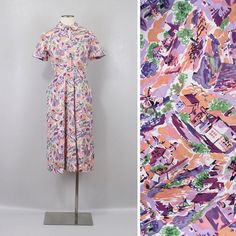 Vintage 1930s Novelty Print Dress by LivingThreadsVintage