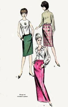 1960s Slim Skirt Pattern Vogue 6234 Mad Men by BessieAndMaive