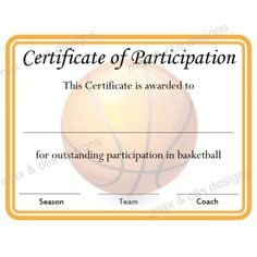 Basketball Certificate of Participation - now fillable pdf.