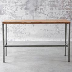 Table haute rectangulaire en acier et teck naturel