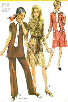1970s Simplicity 9170 Dress or Tunic Contrasting by paneenjerez, $12.00