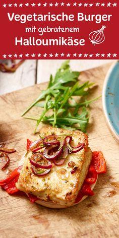 Du liebst Burger? Dann probier diese Variante mit gebratenem Halloumi-Käse, gerösteten Paprika & Rucola, du wirst begeistert sein!