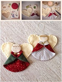 If you love to sew and you're looking for easy Christmas crafts, then our collection of Christmas Sewing Projects is just the thing for you! Diy Christmas Angel Ornaments, Felt Christmas Decorations, Christmas Fabric, Christmas Angels, Handmade Christmas, Christmas Crafts, Decorating Ornaments, Christmas Poinsettia, Crochet Christmas
