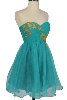 Pretty green dress with gold flowers