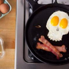 Eggs and bacon. Bahahaha, if I ever cook something like this for breakfast, my suggestion would be not to eat it, lol ;)