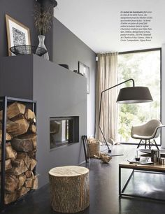 Grey looks so pretty with warm wood
