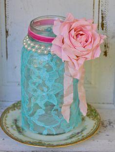 Vintage Shabby Chic Ball Quart Mason Jar with Aqua
