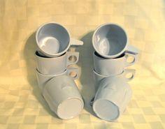 #ppt #pickingparadise Dallas Ware Coffee Cups Mugs Blue Melmac Melamine by WVpickin