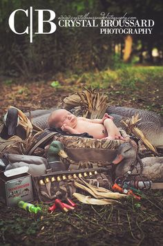 So cute!  Crystal Broussard Photography | Baby with hunting gear | @Crystal Broussard {Photography}