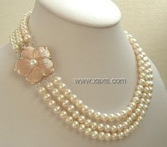 Elegant 3 strand freshwater pearl shell clasp necklace