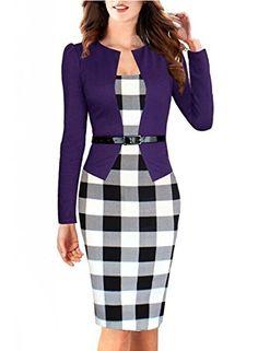 Viwenn Women Elegant Colorblock Long Sleeve V Neck Business Party Bodycon Pencil Dress Purple Large
