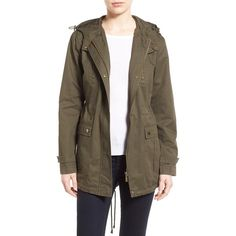 French Connection Relaxed Cotton Utility Jacket ($128) ❤ liked on Polyvore featuring outerwear, jackets, olive, green military jacket, army green jacket, olive anorak jacket, brown jacket y olive green jacket