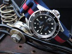 MiLTAT G10 military Red & Blue Stripes watch strap demo on Rolex Tudor Submariner 76100, Vintage Tudor