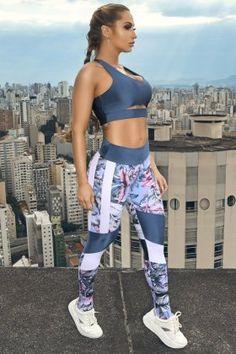 Lets Gym Legging Blooming Azul L920B