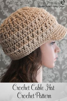 Crochet Pattern - A crochet newsboy hat pattern that has tons of texture and is…