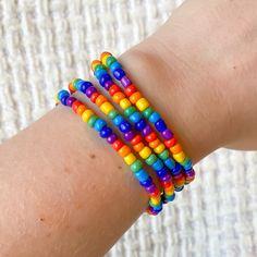 Pride Bracelet, Name Bracelet, Bracelet Set, Seed Bead Bracelets, Silver Bracelets, Perfect Mother's Day Gift, Rainbow Art, Bead Jewellery, Colorful Bracelets