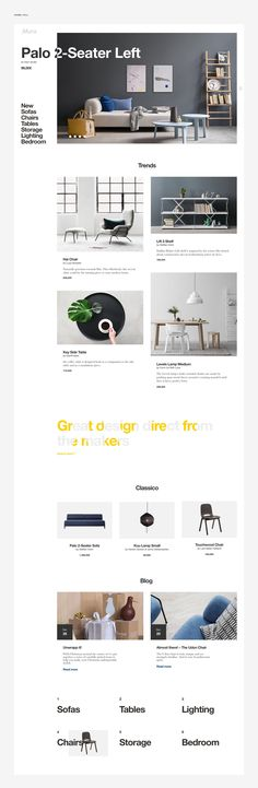 The website's aesthetic closely mirrors that of the company's product and ideal styling. Pops of color are utilized both in the photography and typography.