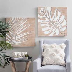 Kirkland's - Carved Tropical Leaf Wall Plaques, Set of 2 : Wood - Tropical Decor, Coastal Decor, Tropical Furniture, Coastal Wall Art, Tropical Bedroom Decor, Tropical House Design, Cheap Home Decor, Diy Home Decor, Arte Pallet