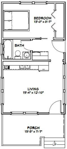 Tiny house plan ready to build 1 story 368 sf pl15020sl pinterest tiny house plans tiny houses and house