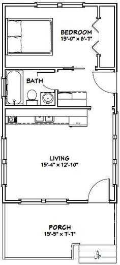 16x28 Tiny House -- #16X28H1E -- 447 sq ft - Excellent Floor Plans