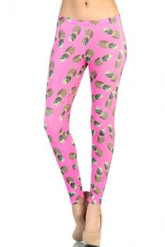 LoveMelrose.com From Harry & Molly   Pineapple Printed Leggings - Pink
