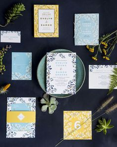 If you're just joining us today we're getting a closer look at OSBP #designerrolodex member @elliesnow of #hellotenfold for this week's installment of #meettherolodex! Ellie is sharing a couple of new designs today including this beautiful vine-inspired design! I'm a huge fan of pink but this blue yellow and navy color palette is so pretty  especially when paired with gold foil!  From @elliesnow: Vine is one of the newest invitation suites for Hello Tenfold. The floral illustration and…