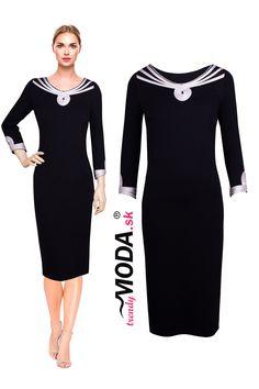 Originálne čierne úpletové dámske šaty s efektnou béžovou aplikáciou vo výstrihu a na rukávoch, skladom vo veľkostiach i pre moletky. Dresses For Work, Fashion, Moda, Fashion Styles, Fashion Illustrations
