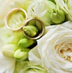 Trouwkaart: Twee ringen tussen witte roos en bloemen. Trouwkaarten online maken en bestellen. Prachtige trouwkaarten met ringen: kies een trouwkaart, schrijf de tekst, en vraag een gratis proefdruk op! http://www.trouwpost.nl/trouwkaarten/ringen/