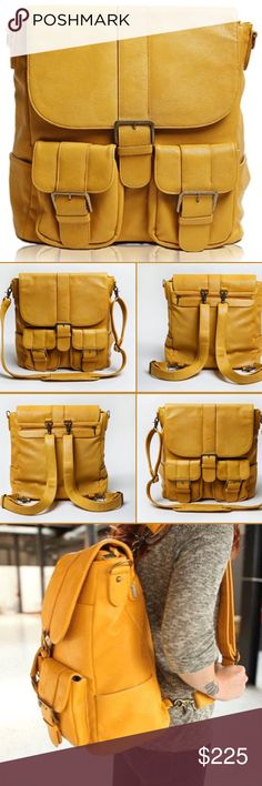 """Rare Epiphanie Brooklyn Camera Bag Backpack Gorgeous mustard Brooklyn camera bag/backpack from Epiphanie combines function and style. Can carry a DSLR w/attached lens, 2 extra lenses, flash w/battery pack, accessories and a 15"""" laptop and/or tablet. Has plenty of pockets and 4 interior panels allow you to configure the bag to your liking. Or, remove all panels for one large storage space. Includes 2 detachable shoulder straps + detachable cross-body strap. Made from water-resistant…"""