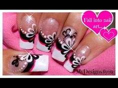 Floral Nail Art | Monochrome Flower French Using Dotting Tool! ♥ Цветочный Дизайн Ногтей Дотсом - YouTube