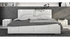Lit blanc 160x200 cm avec LED et haut-parleurs - Wouter Tête De Lit  Matelassée 74ff5becdf49