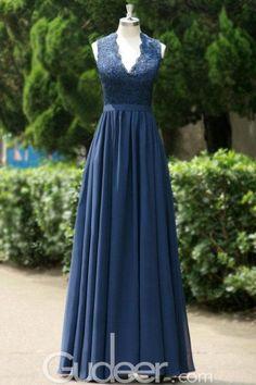 Navy blue long chiffon bridesmaid dress features scalloped v neck with sleeveless bodice, long chiffon skirt flows with back keyhole.
