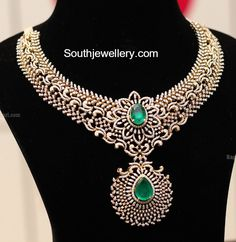 Bridal Diamond Necklace, replace the emerald with something blue