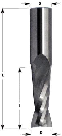VHW Spiralnutfräser verfügt über 2 positive rechtsgedrallte spiralgenutete Schneiden