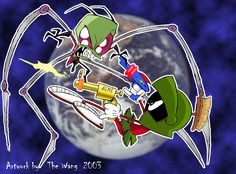 Zim vs Marvin ( I think that's his name ) Invader Zim, Crossovers, Fandoomstuck Space Battles, Childhood Tv Shows, Marvin The Martian, Garage Art, Flying Saucer, Girls Life, Jack Skellington, Looney Tunes, Cute Wallpapers