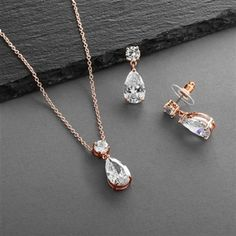 5 Sets Dainty Rose Gold Plated Crystal Bridesmaid Jewelry by Mariell. Rose Gold Wedding Jewelry, Bridal Jewelry Sets, Bridesmaid Jewelry Sets, Teardrop Necklace, Necklace Set, Dangle Earrings, Bridal Necklace, Necklace Lengths, Pendant Set