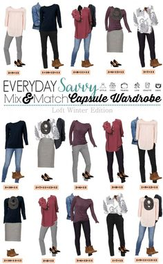 Check out this mini loft winter capsule wardrobe that has both casual and dressy mix & match outfits. This makes looking great easy and affordable. It includes jeans, patterned skinny ankle pants and a pencil skirt plus flowy tops and cute sweaters.