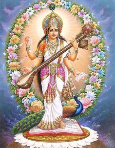 Saraswati - Goddess of Learning (Reprint on Paper - Unframed))