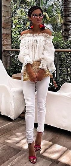 #summer #outfits White Off The Shoulder Top + White Skinny Jeans