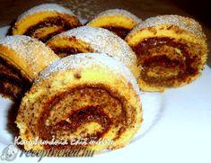 Diós tarka piskótatekercs Poppy Cake, Fall Desserts, Doughnut, Nutella, French Toast, Muffin, Breakfast, Dios, Kitchens