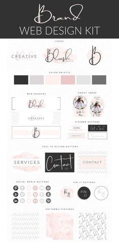 The easiest feminine Blush DIY Website Branding Kit you will ever work with. Perfect Brand, Logo, Web header, Pin It Buttons, Call to Action Buttons, Feature Images, Social Media Icons and Patterns for an amazing Brand experience. DIY your Blog or website today with this Brand Kit. Fully Editable in 1 easy to use Adobe Photoshop File so you can make an impact immediately! #Branding #Logo #Brand Kit