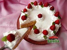 Tort cu crema de unt si spuma de capsuni Waffles, Pie, Pudding, Keto, Sugar, Breakfast, Desserts, Food, Pies