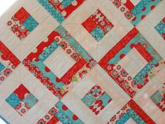 Modern Quilt Riley Blake Aqua and Red Baby by CarlaGAccessories, $125.00