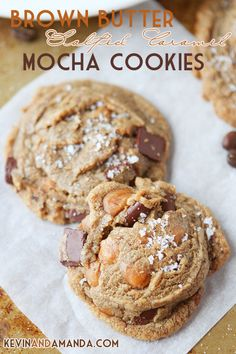 Everyone always asks what the secret ingredient is in these cookies! The combination of brown butter, salty caramel, chocolate chunks, and a hint of hazelnut coffee mixes together to create one seriously magical cookie. #recipe #cookies #chocolate