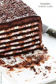 Neapolitan Ice Box Cake #cake #chocolate #dessert #sweet #snack #pastry #recipe #recipes