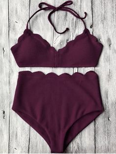 $15.66 Halter Scalloped High Waisted Bikini Set - MERLOT M